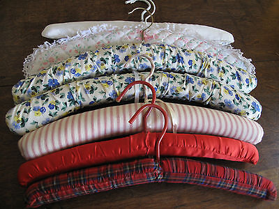 Lot of 7 Vintage Retro Fabric Covered Clothes Coat Hangers - some Laura Ashley