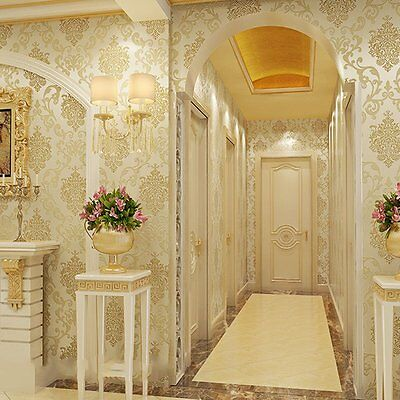 3D 10M Grandeco Kensington Damask Cream Luxury Glitter Wallpaper Gold
