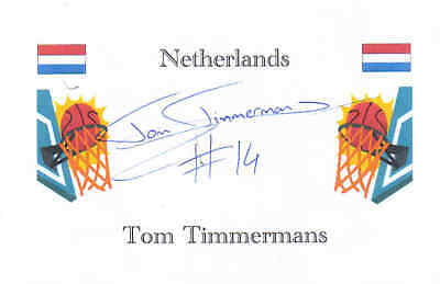 Basketball: Tom Timmermans (Netherlands) signed card