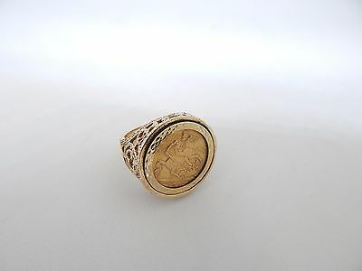 GOLD VICTORIA 1893 HALF SOVEREIGN COIN & RING. Size S 1/2