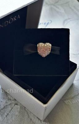 PANDORA | GENUINE 14ct Gold Clear CZ Pave Heart Charm / Bead: 750828CZ