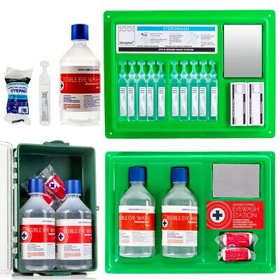 Branded STERILE EYE WASH WOUND SOLUTIONS Wall Mountable Work Place First Aid Kit