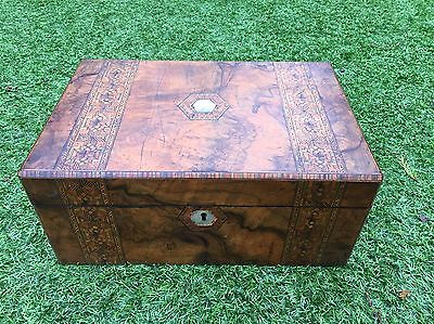 Antique Beautiful Victorian Walnut And Parquetry Writing Slope.1880's