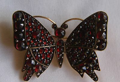 Victorian Bohemian Solid 10K Gold and Garnet Butterfly Brooch