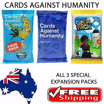 Cards Against Humanity - Triple Expansion Set - Food, Jew, Geek Expansion Packs