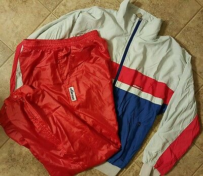 ELLESSE Vtg 80's TRACK Jacket pants NYLON Full Zip MINT CONDITION sz 38  Italy