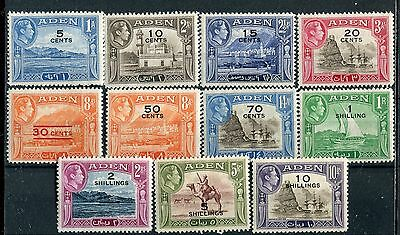 Aden KGVI 1951 New values, surcharge set of 11 SG36/46 mounted mint