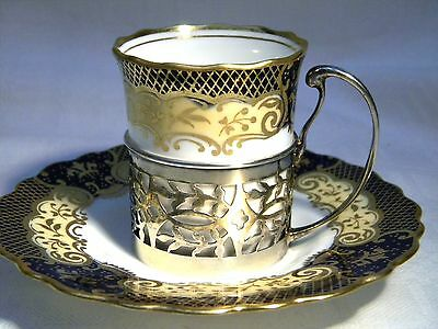 ART DECO AYNSLEY COFFEE CAN / CUP & SAUCER HM SILVER MOUNT c.1925 COBALT & GOLD