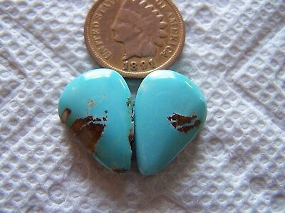 2 NATURAL Royston Turquoise Cabs 18 carat Cabochon American Nevada Matching Sets