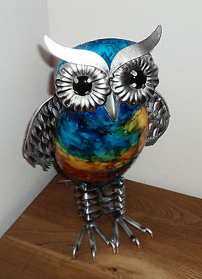 Large 31cm Hand Painted Metal Owl Gift Ornament Figurine Retro Novel Decoration