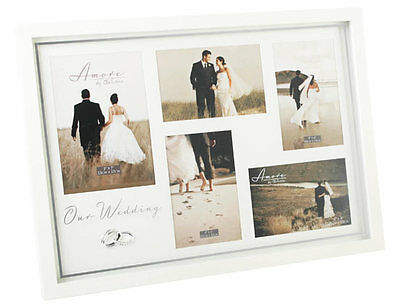 "Amore Wedding Crystal Ring 5 Multi Photo Picture Frame 18"" Wall Hanging Standing"