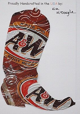 Cowboy Boot Handmade Christmas Ornament Recycled Aluminum Root Beer Soda Can Art