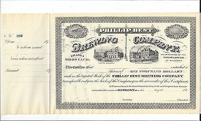 Phillip Best Brewing Company......1870's Unissued Stock Certificate