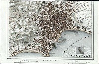 Naples Italy very detailed city plan urban map 1855 Heck hand color