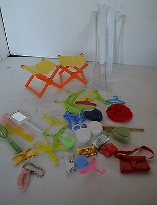 Vintage Barbie Doll Hangers Purse Stand Chairs Lot Brushes 30 Plus