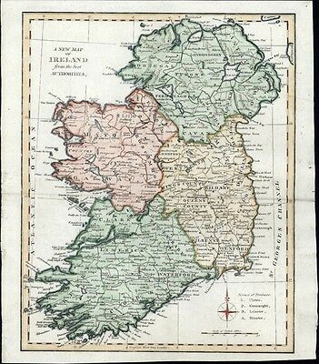 Ireland 1810 lovely old antique map beautiful hand color from best Authorities