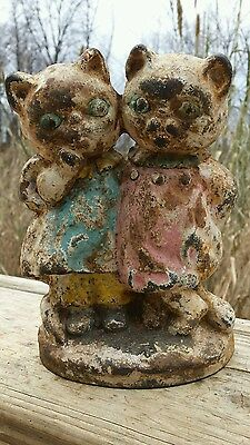 Antique Cast Iron Twin Cats Kittens Hubley Grace Drayton Doorstop Original Paint