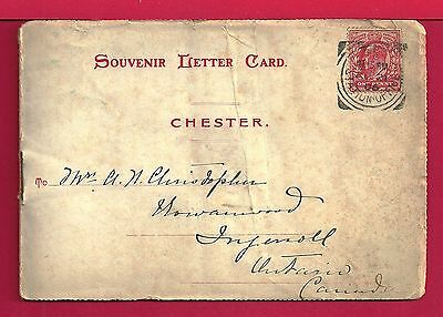 1905 Gb Chester Souvenir Letter Card Folder Of Views To Canada