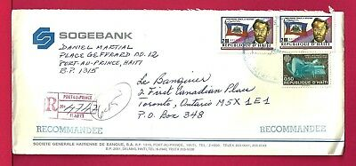 1990 Haiti Tri Franked Registered Cover Bank To Usa