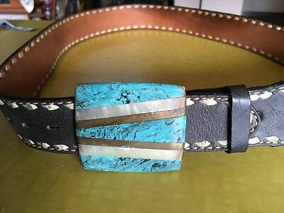 Vintage Leather Turquoise Mother Pearl Inlay Heavy Buckle Belt Stitching