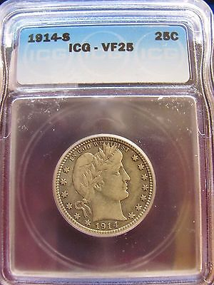 1914-S ICG VF 25 Barber Quarter (NI-24)