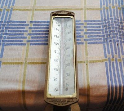 Antique Thermometer Moeller Richmond Hill N.y. Rear Mount Brass Working