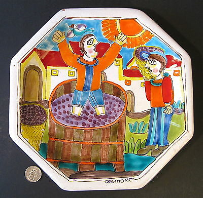 """GIOVANNI DESIMONE Signed Mid Century Italy Art Pottery 10"""" Plate GRAPE STOMPING"""
