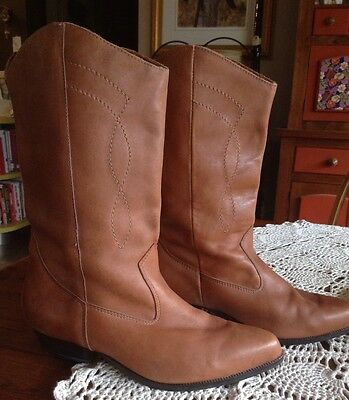 Vintage 1980's Tan Leather Cowboy Boots Boho Festival Gypsy Indie Size 8