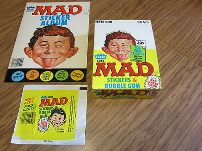 Lot of 3-1983 Fleer Goes MAD 1-Empty Box  1-Wrapper & 1-Sticker Book EX