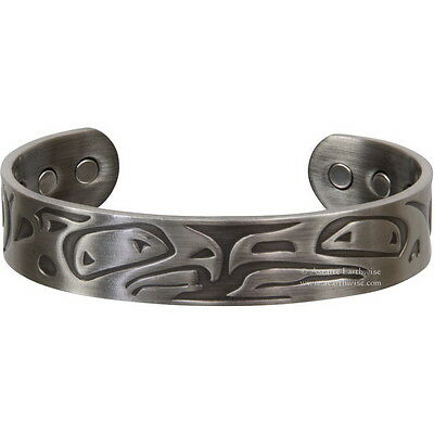 MAGNETIC COPPER BRACELET - EAGLES  Wicca Pagan Witch Goth ANTIQUE SILVER