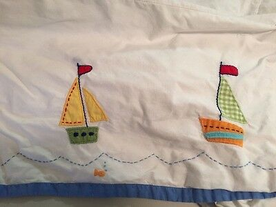 Pottery Barn Kids Six Little Sailboats Nautical Crib Skirt Dust Ruffle VGUC