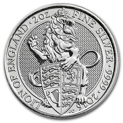 2016 2 oz British Queen's Beast Lion of England Silver Coin (QTY 10)