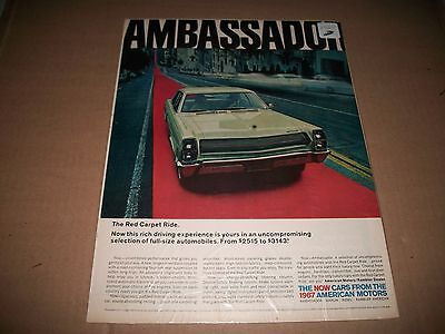 1967 Amc Ambassador Original Vintage Print Advertisement Garage Art Collectible