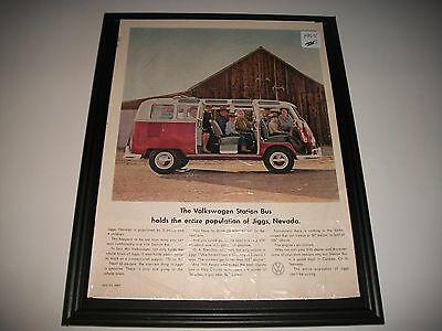 """1965 Volkswagen Station Bus Print Advertisement """"holds The Entire Population"""""""