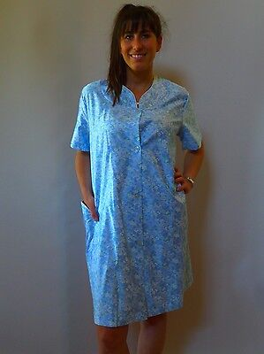 vintage retro true 60s W 12 M unused brunch coat robe dressing gown blue cotton
