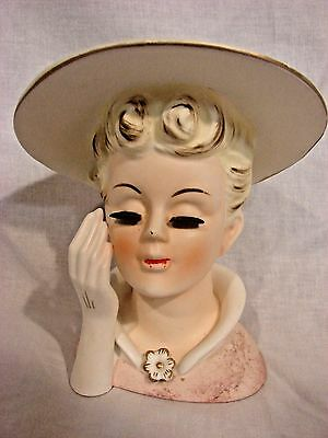 Napco Head Vase C5047 Big Brim Hat Brooch Tall 6.25 inch VIntage Lady BIG Lashes