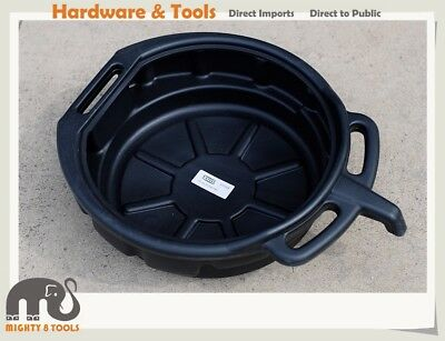 15 Ltr Cap. Fluid Oil Drain Pan Tray Changing Container w Pouring Spout & Handle