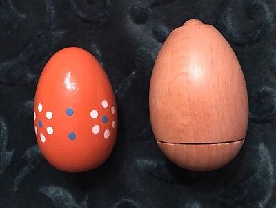Vintage Wooden Darning Sock Egg Decorated & Pull-Apart w/Thread (Lot of 2)