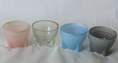 Lot of 4 vintage Art Deco glass EGG CUPS Coloured Retro