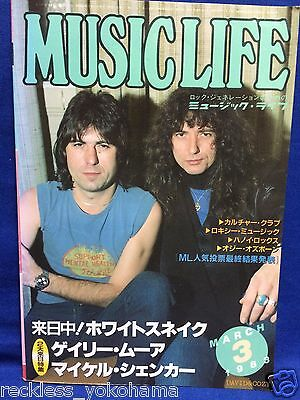 Music Life 1983 03 Japan Magazine Book Whitesnake Gary Moore Michael Schenker