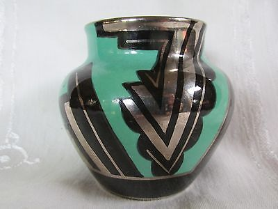 Rare Art Deco Carlton Ware Handcraft Chevrons Chevron Small Vase Green Black