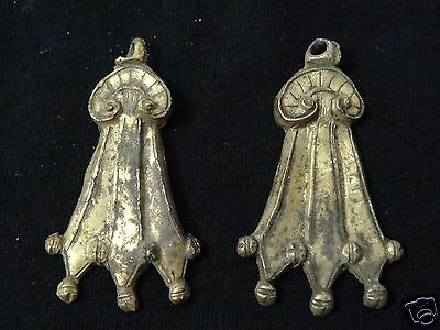 Antique Mongolian Buddhist Gilded Pair Of Copper Earrings