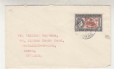 GILBERT & ELLICE ISLANDS, ARORAE cds., 1950 cover KGVI 2d. to GB.