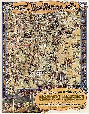 1946 Antique Map POSTER Recreational New Mexico the land enchantment 6862001