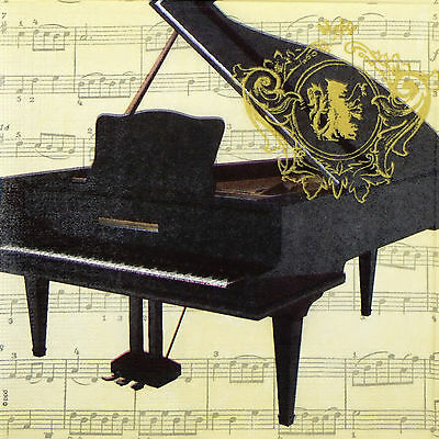 4x Paper Napkins -Vintage Piano- for Party, Decoupage Craft