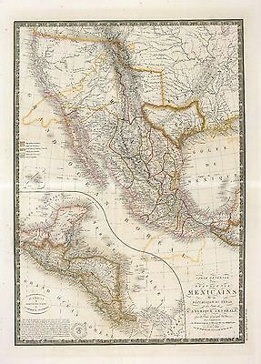 1840 MEXICO TEXAS REPUBLIC era old MAP atlas poster early history state borders