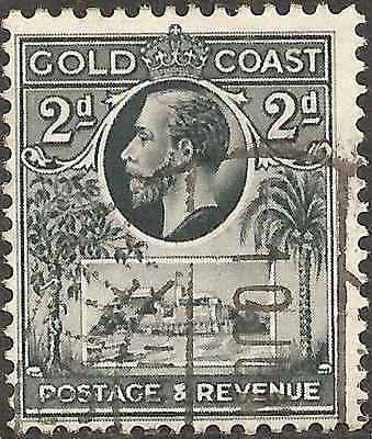 USED 1928 GOLD COAST 2p King George V. Stamp BRITISH COLONY Slate-Grey