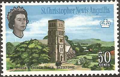MH 1963 ANGUILLA St Christopher NEVIS 50c ST GEORGE CHURCH TOWER British Colony