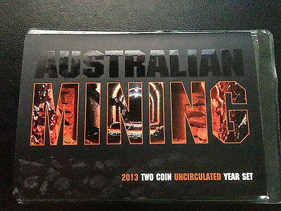 RAM Australia 2013 Mining $1 and 20 Cent Unc 2 Coin Mint Set as issued RARE