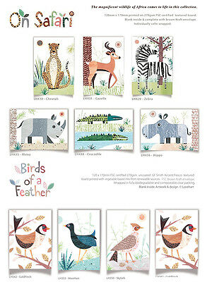 100 Wholesale Greetings Cards 'On Safari' & 'Birds' - Top Quality